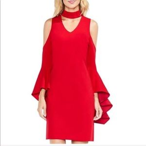 Vince Camuto Red Party Dress with choker neckline